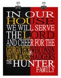 A House Divided - Georgia Tech Yellow Jackets & Wisconsin Badgers Personalized Family Name Christian Print