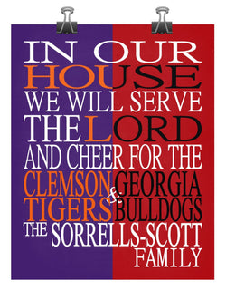 A House Divided - Clemson Tigers and Georgia Bulldogs Personalized Family Name Christian Print