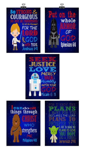 Star Wars Christian Nursery Art Decor Print Set of 5 - Luke Skywalker, Yoda, Darth Vader, Chewbacca