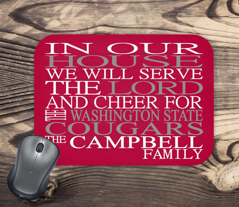In Our House We Will Serve The Lord And Cheer for The Washington State Cougars Personalized Family Name Christian Mouse Pad - Perfect Gift