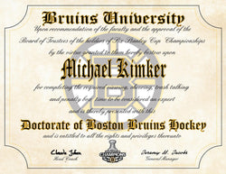 "Boston Bruins Ultimate Hockey Fan Personalized Diploma - Perfect Gift - 8.5"" x 11"" Parchment Paper"
