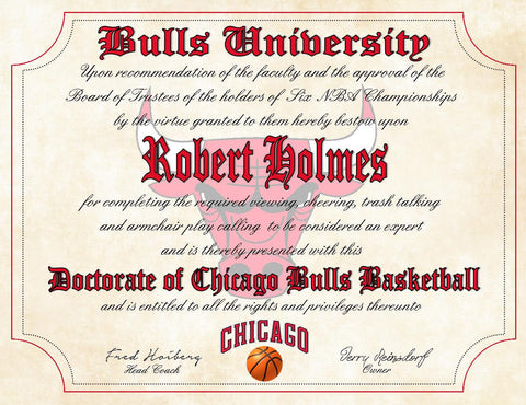 "Chicago Bulls Ultimate Basketball Fan Personalized Diploma - Perfect Gift - 8.5"" x 11"" Parchment Paper"