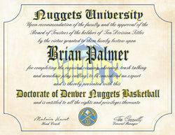 "Denver Nuggets Ultimate Basketball Fan Personalized Diploma - Perfect Gift - 8.5"" x 11"" Parchment Paper"
