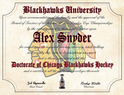 "Chicago Blackhawks Ultimate Hockey Fan Personalized Diploma - Perfect Gift - 8.5"" x 11"" Parchment Paper"