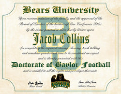 "Baylor Bears Ultimate Football Fan Personalized Diploma - Perfect Gift - 8.5"" x 11"" Parchment Paper"