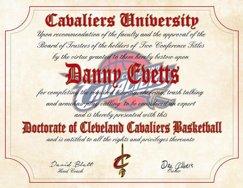 "Cleveland Cavaliers Ultimate Basketball Fan Personalized Diploma - Perfect Gift - 8.5"" x 11"" Parchment Paper"