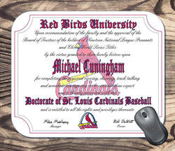 Personalized St. Louis Cardinals Baseball Ultimate Fan Diploma Mouse Pad