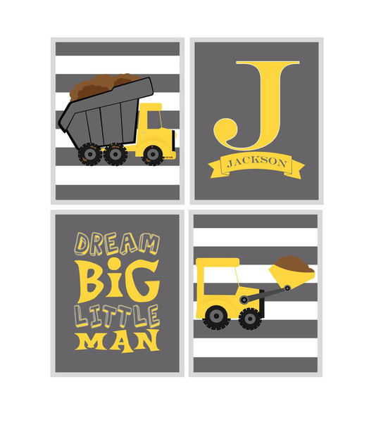 Personalized Monogram Construction Nursery Wall Art, Dump Truck, Bulldozer, Dream Big Little Man