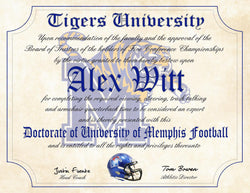 "University of Memphis Tigers Ultimate Football Fan Personalized Diploma - 8.5"" x 11"" Parchment Paper"