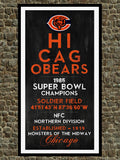 Chicago Bears - Eye Chart chalkboard print - sports, football, gift for fathers day, subway sign - Eyechart wall art