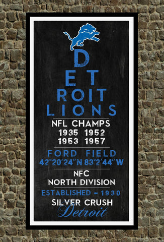 Detroit Lions - Eye Chart chalkboard print - sports, football, gift for fathers day, subway sign - Eyechart wall art