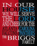 A House Divided - Atlanta Falcons & Carolina Panthers Personalized Family Name Christian Print