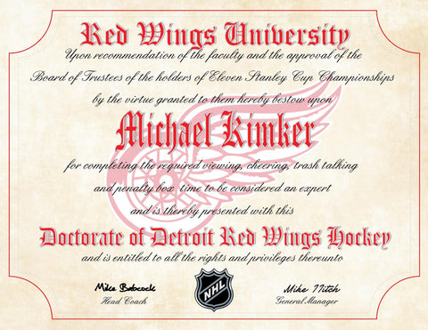 "Detroit Red Wings Ultimate Hockey Fan Personalized Diploma - Perfect Gift - 8.5"" x 11"" Parchment Paper"