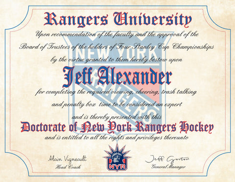 New York Rangers NHL novelty fan diploma, perfect gift or for the fan cave, office or man cave
