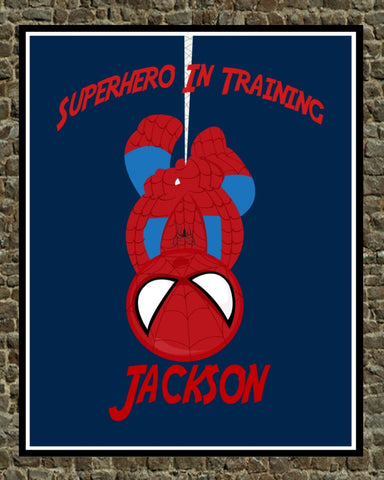 Personalized Superhero Nursery - Spiderman - Superhero In Training Wall Art Decor