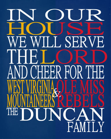 A House Divided - West Virginia Mountaineers & Ole Miss Rebels Personalized Family Name Christian Print