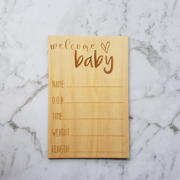 Wooden Timber Birth Announcement Plaque