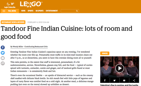 Tandoor Fine Indian Cuisine: lots of room and good food