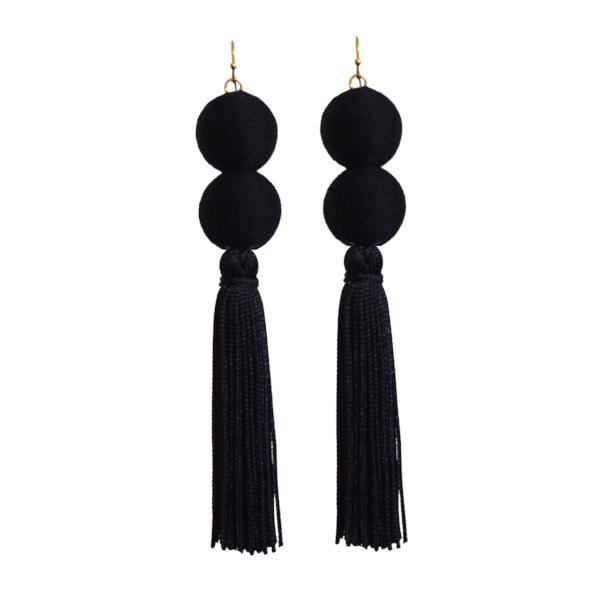 black double pom tassel