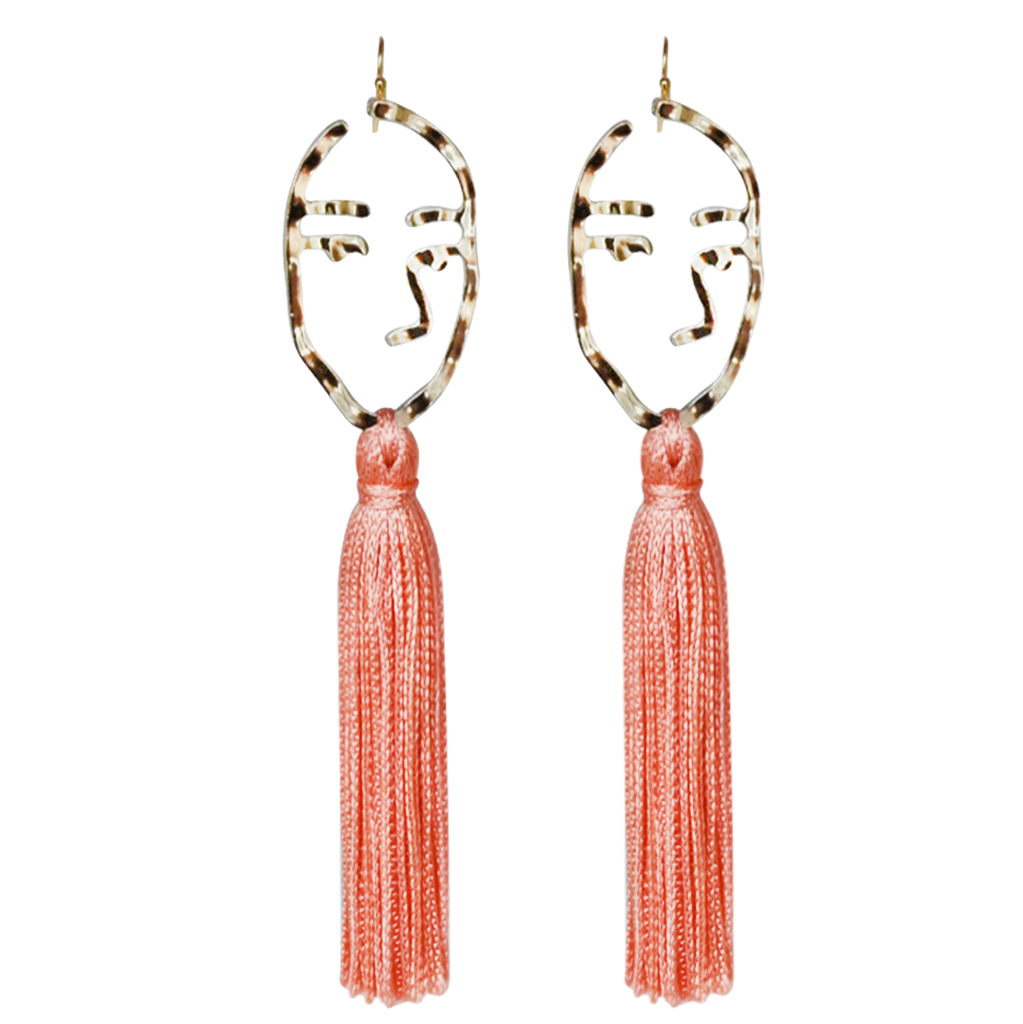 coral abstract face tassel