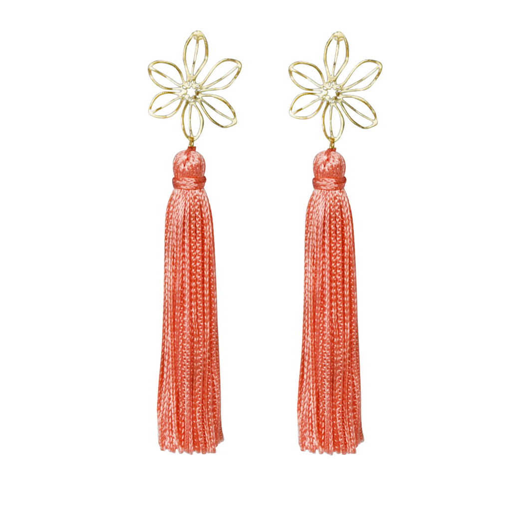 coral wire flower tassel