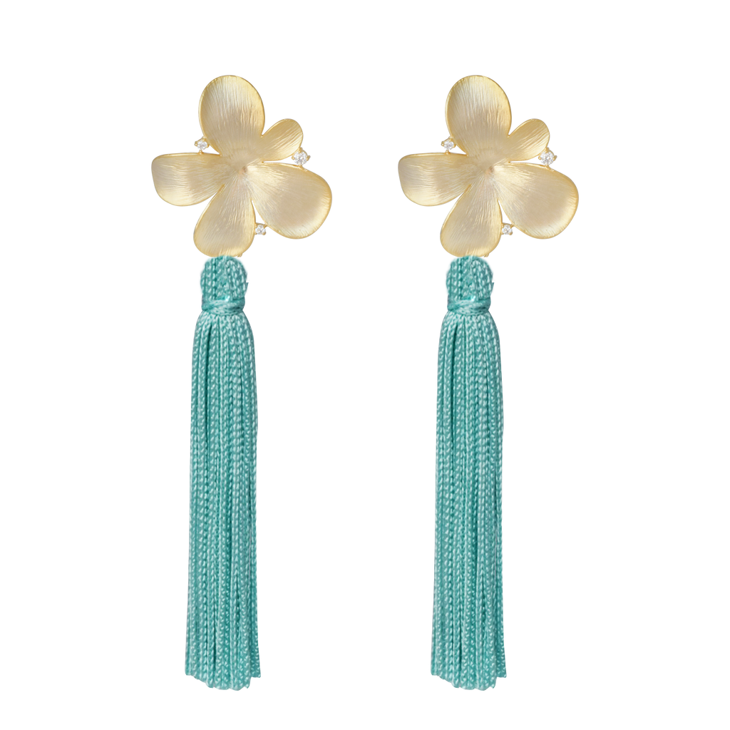 mint blue flower tassel