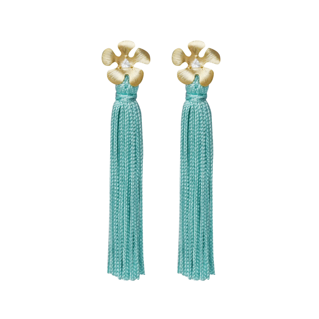 mint blue mod flower tassel