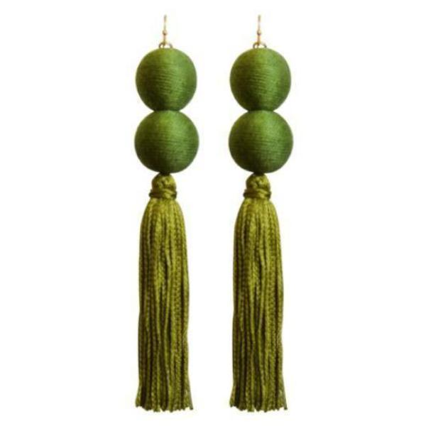 Olive Double Pom Tassel