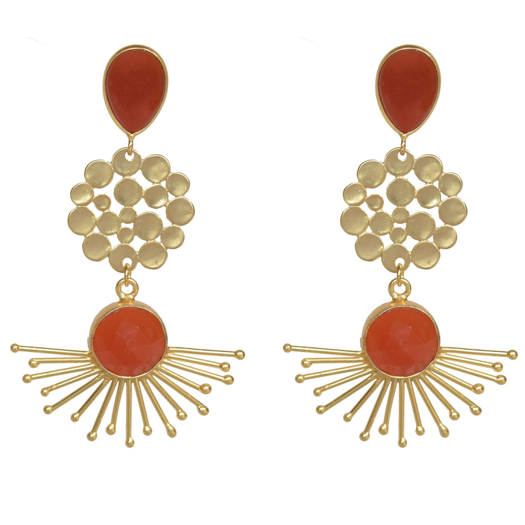 Orange Sunburst Cluster Dangle