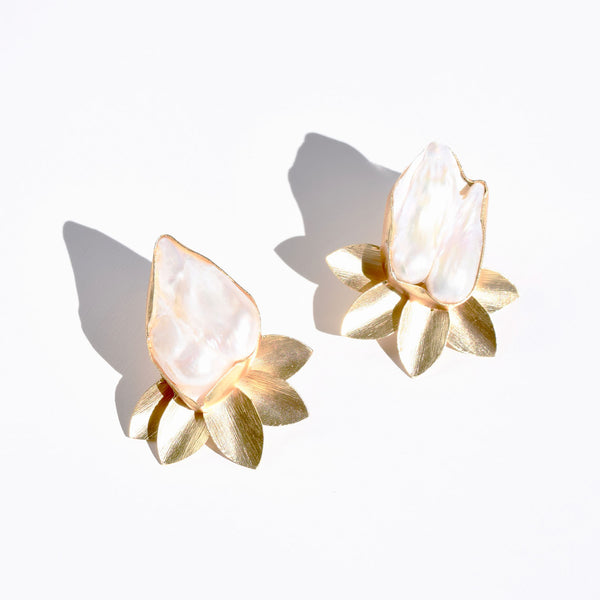 Large Mother of Pearl Petal Stud