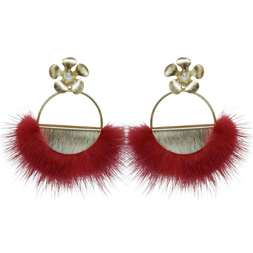 Red Mink Flower Hoop