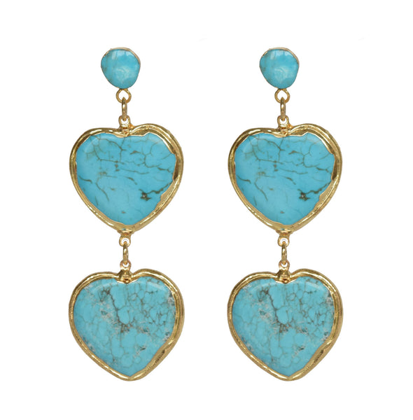 turquoise double heart