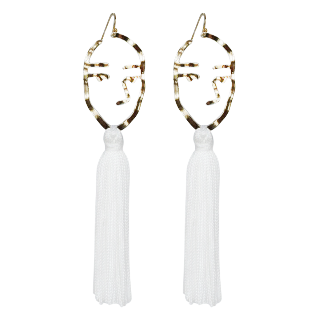 white abstract face tassel
