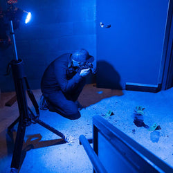 FoxFury Nomad® 470nm Blue Forensic Scene Light - all-weather and waterproof light source stows compactly for easy storage and transport. Shown on a crime scene training
