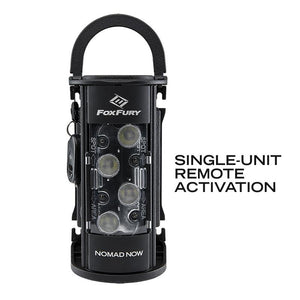 FoxFury Nomad® NOW Scene Light: Single Activation - Up to 2,500 lumens and 3-24 hour run time. This light is cordless, rechargeable, waterproof and impact resistant
