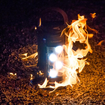 FoxFury Nomad® NOW Scene Light: Single Activation - Up to 2,500 lumens and 3-24 hour run time. This light is cordless, rechargeable, waterproof and impact resistant. Shown on fire and still working