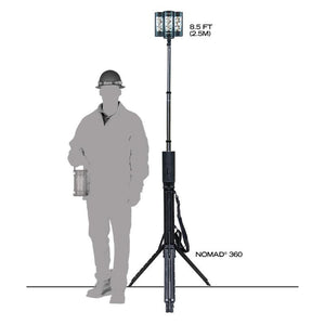 FoxFury Nomad® 360 Scene Light - cordless, rugged area light delivers up to 7,000 lumens and extends over 8 feet tall