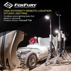 FoxFury Nomad® T56 Production Light - Cordless, battery powered production light extends up to 8.5ft (2.6m) tall to deliver up to 8,200 lumens of 95 CRI 5600K daylight balanced lighting. Shown at a photoshoot
