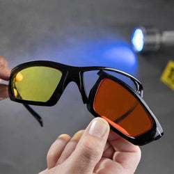 FoxFury CS Eye Glasses for Forensics have removable and interchangeable lenses for use in standard or dichroic options