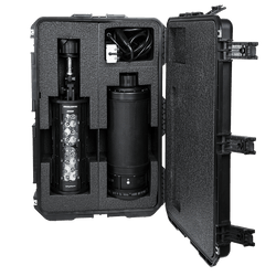 Nomad® Transformer® Hard Case by FoxFury - Strong and durable case has lifetime warranty. Shown with Nomad® Transformer® Light Head and Power Pack