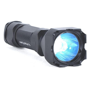 FoxFury Rook CheckMate LED Flashlight - has bright Turbo-Strobe light beam and strike bezel