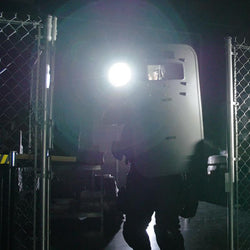 FoxFury Taker B10 Shield Light - adaptive ballistic shield light is fully waterproof, fire resistant, impact resistant, and can be used in all-weather situations. Turbo-Strobe™ mode included. Shown on a ballistic shield