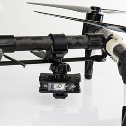 FoxFury Handlebar/Drone Mount - fits bicycle or motorcycle handlebars. Shown attached to a drone