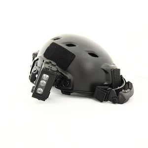 FoxFury HHC Tactical Light in Black - shown on a helmet