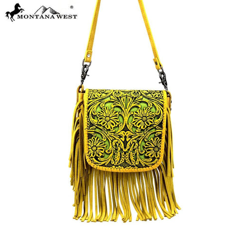 Montana West  Handbag Hipster Cowgirl Leather Tooled Crossbody purse Yellow