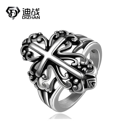 1pc Hot Design !! US Style Mens Boy Biker Ring 316L Stainless Steel Unique Cool Ring Cross Ring Christian Religious jewelry