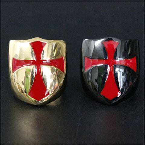 1pc Size 7-13 Black Golden Polishing Shield Ring 316L Stainless Steel Punk Jewelry Red Cross Ring