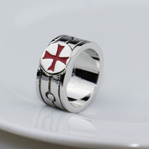 2016 Classic Assassins Creed Stainless Steel Templar Ring the Red Cross Assassins Creed Cosplay Gamer Jewelry Band Rings