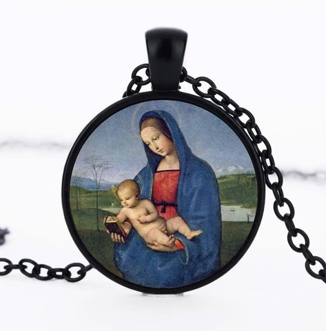 2016 New Blessed Virgin Mary Mother of Baby necklace Jesus Christ Christian pendant Catholic Religious Glass Necklace