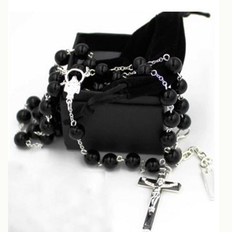 2016 fashion rosary Cross Necklace & pendant  Bead David Beckham black Necklaces Chain with bag box